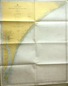 Vintage Nautical Chart Map Nc North Carolina New River Inlet To Cape Fear