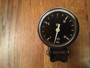 Vintage Stewart Warner 2 5 8 Fuel Pressure Gauge And Cup