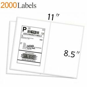 2000 Half Sheet Address Shipping Labels 8 5x5 5 Self Adhesive 2 Per Sheet Usps