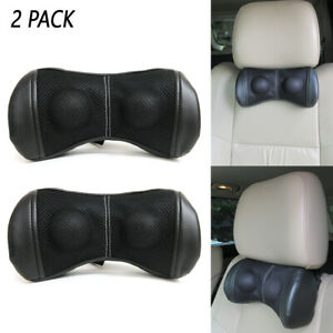 2 Pc Car Seat Pillow Headrest Soft Pad Leather Head Neck Support Rest Cushion