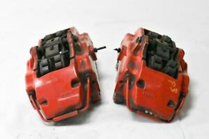 04 10 Porsche Cayenne 955 Turbo Front Left Right Brake Calipers Red Brembo Oem