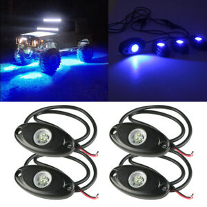 Blue Led Rock Light 4 Pods Lights For Off Road Truck Car Atv Suv Under Wheel X4