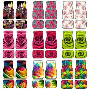 Stylish Car Floor Mats Flower Rose Fit Women Protect Back Front rear Mats Carpet