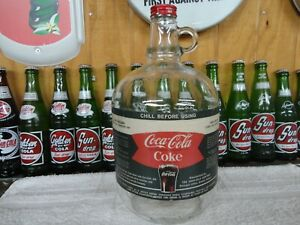 COCA-COLA FISH TAIL SODA FOUNTAIN SYRUP PAPER LABEL 1 GAL JUG WITH COKE CAP