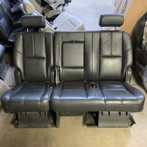 2009 Chevy Tahoe 2nd Row Rear Leather Split Bench Seat Black 193 Opt Am8