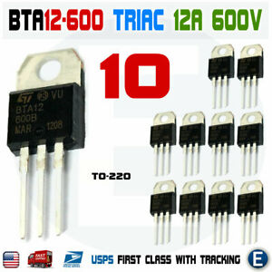 10pcs Bta12 600b Bta12 Triac 600v 12a To 220ab Usa