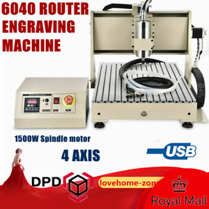 Usb 4 Axis 6040 Cnc Router Engraver Milling Driiling Machine 1500w Spindle Diy