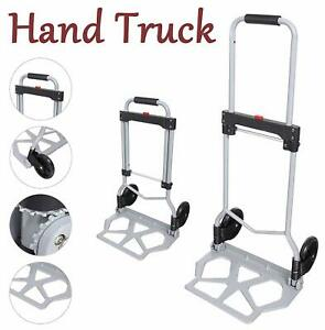 Portable Folding Hand Truck Dolly Luggage Carts Silver 150lbs Capacity Portable