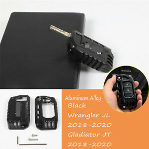 Alloy Black Key Fob Cover Case Protector Shell For Jeep Wrangler Jl Jt 2018 2020