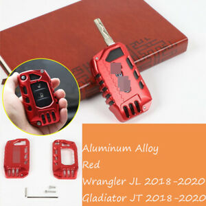 Alloy Red Key Fob Cover Case Protector Shell For Jeep Wrangler Jl Jt 2018 2020