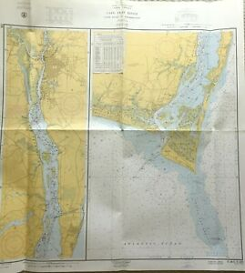 Vintage Nautical Chart Map Nc North Carolina Cape Fear River And To Wilmington