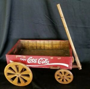 Vintage Handmade wooden Coca-Cola crate wagon plant stand table Photo Prop