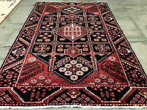 5x8 Vintage Wool Rug Hand Knotted Oriental Antique Handmade Handwoven Blue 5x7