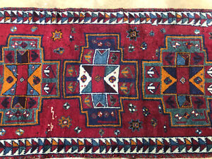 4x12 Vintage Runner Rug Wool Hand Knotted Red Antique Handmade Wide 4x13 3x12 Ft