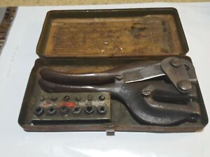 Vtg Whitney Metal Tool Co Leather Punch No 5 In Original Metal Box Usa
