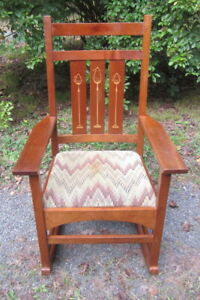 Stickley Harvey Ellis Inlaid Cherry Wood Mission Rocking Chair