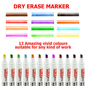 Dry Erase Markers Assorted Colors Low Odor Chisel Tip Long Lasting Pack Of 12