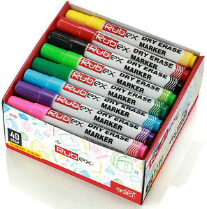 Dry Erase Markers Assorted Colors Low Odor Chisel Tip Long Lasting Pack Of 40