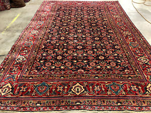 8x11 Blue Vintage Wool Rug Hand Knotted Oriental Antique Handmade Carpet 8x12 Ft