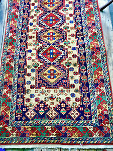 Persian Kurdish Geometric Tribal Wool Rug Signed Antique 3 X 6 Hand Knotted