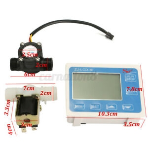 1 2 Water Diesel Fuel Oil Flow Meter Lcd Display Solenoid Flow