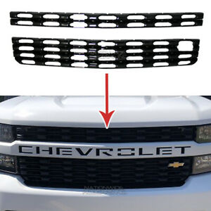 2019 2021 Chevy Silverado 1500 Gloss Black Snap On Grille Overlay Grill Covers