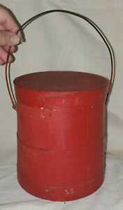 Vintage Primitive Small 7 3 8 Painted Red Over Blue Wood Firkin