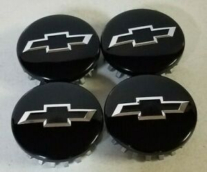 Chevy Truck Suv New Gloss Black Center Cap With Chrome Black Bowtie Logo Wow