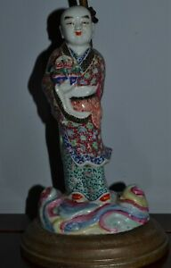 Antique Chinese Famille Rose Porcelain Figure Lamp Electrofied