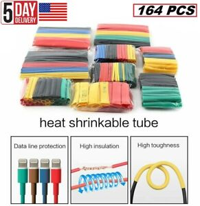 164pcs Cable Heat Shrink Tubing Sleeve Wire Wrap Tube 2 1 Assortment Kit Set