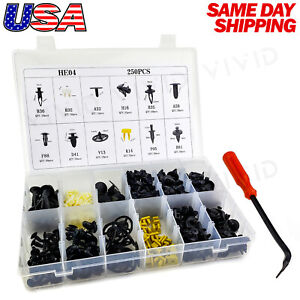 250pcs Set Plastic Rivets Fastener Fender Bumper Push Clips With Tool For Nissan