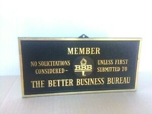 Vintage Better Business Bureau Bbb Bronze Resin Plastic Sign
