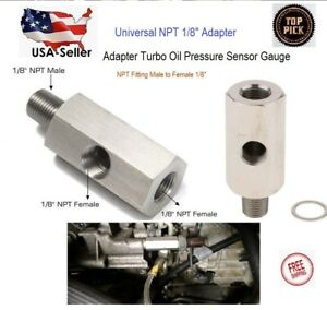 Npt Oil Pressure Sensor Tee 1 8 Npt Adapter Turbo Supply Feed Line Gauge M10 1 5
