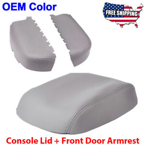 Fits 09 15 Honda Pilot Leather Center Console Lid Front Door Armrest Cover Gray