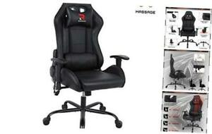 Rimiking Massage Computer Gaming Chair high Back Pu Leather Racing Desk Office C