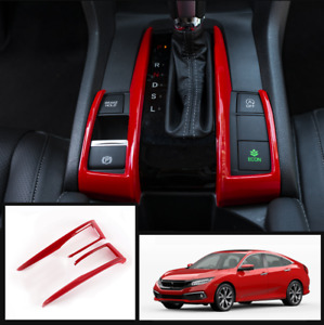 For Honda Civic 2016 2020 Car Red Interior Gear Shift Box L shape Trim Strip 2