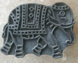 Antique Wood Hand Carved Textile Printing Fabric Block Stamp Primitive Elephant