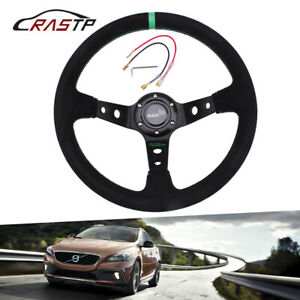 Universal Suede Leather Steering Wheel 345mm Stitch Deep Dish Sport Racing Car