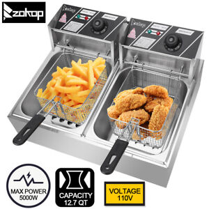 5000w 12 7qt Electric Countertop Deep Fryer Dual Tank Commercial Restaurant