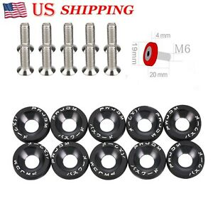 Password Red Aluminum Fender Washers 10pcs Bumper Bolt Engine Dress Up Kit Us