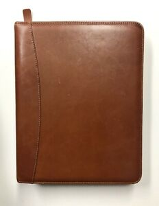 Franklin Covey Quest 7 Ring Brown Zip Binder Planner Full Grain Aniline Leather