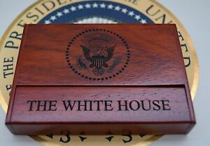 Official Trump Presidential Seal Gift Business Card Holder desk top wooden