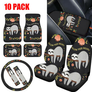 Cute Sloth Car Seat Cover Combo With Seat Belt steering Wheel Cover armrest 10pc