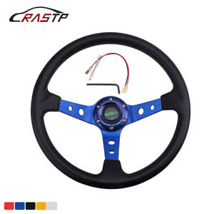 350mm 14 95mm Deep Dish 6 Bolt Racing Steering Wheel With Horn Button