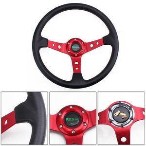 Racing Steering Wheel Universal 14 95mm Deep Dish 6 Bolt Pu Leather Horn Button