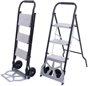 2in1 Practical 3 step Ladder And Hand Truck Trolley Cart Folding W two Wheels Us