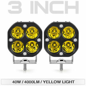 2x 3inch 40w Led Work Light Bar Spot Pods Driving Fog Offroad 4wd Suv Atv Yellow