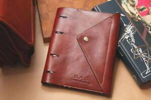 A5 Brown Leather Dairy Genuine Leather 3 Ring Binder Leather Bound Folder