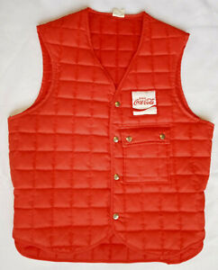Vintage Unitog Men's Size Large Quilted Coca-Cola Vest - Red - Made in the USA