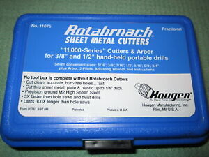 Hougen 11075 Rotabroach Fractional Sheet Metal Hole Cutter Kit With Case